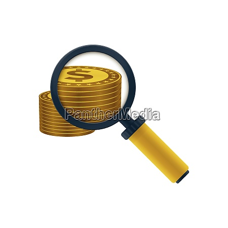 gold colored dollars stack and magnifying