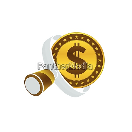 gold colored dollar coin white magnifying