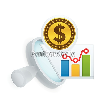market research icon magnifying glass and