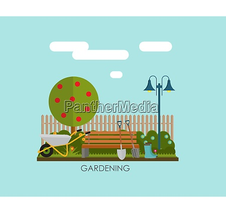 gardening flat background vector illustration garden