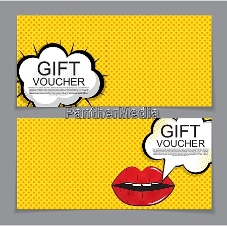 gift voucher template with cartoon background