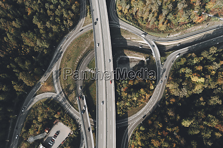 view from above intersecting freeways stuttgart