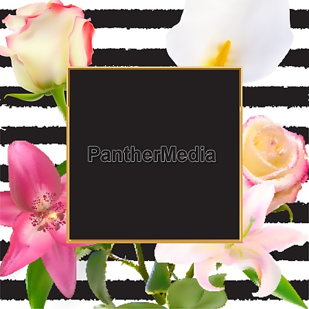 abstract frame with lily and rose