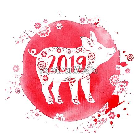 lindo simbolo de cerdo del zodiaco