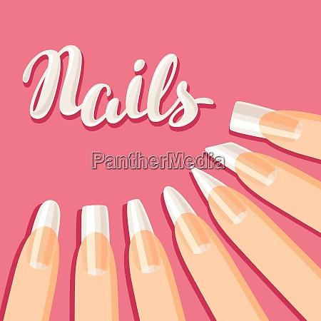 acrylic nail shapes set various types