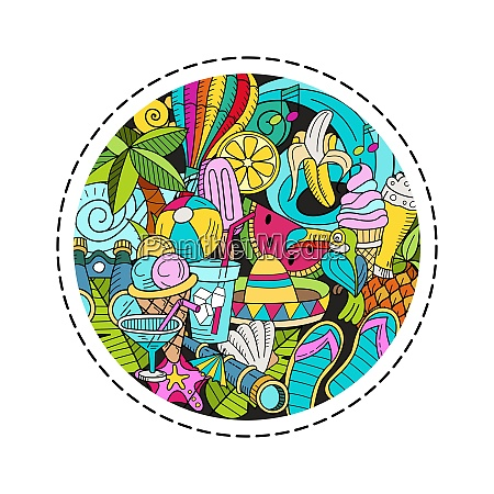 cartoon hand drawn doodle consisting of