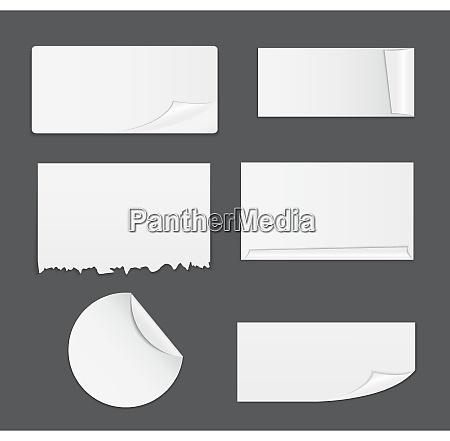 set of white paper stickers isolated