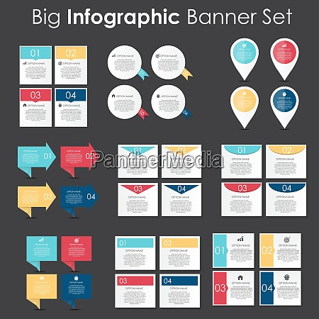 big set of infographic banner templates