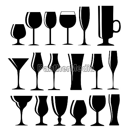 set of black alcoholic glass silhouette