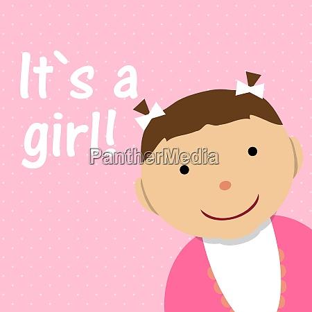 vector illustration for newborn girl on