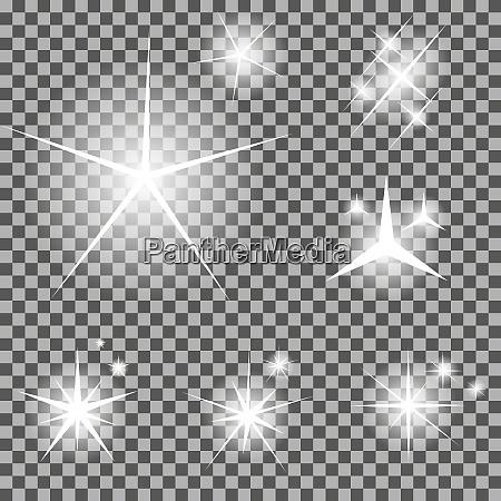 saet glodende lysstjerner med funkler vektorillustration