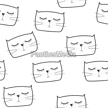 cute handdrawn cat seamless pattern vector