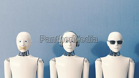 3d rendering robotter der ikke taler