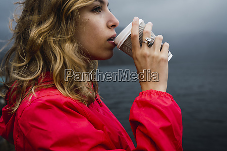 norway lofoten young woman at the