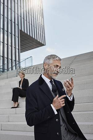 portrait of businessman talking on the