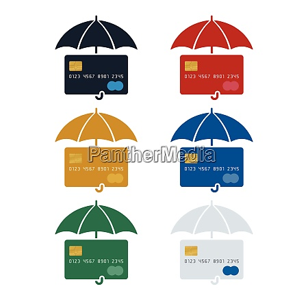 credit card icon with umbrella