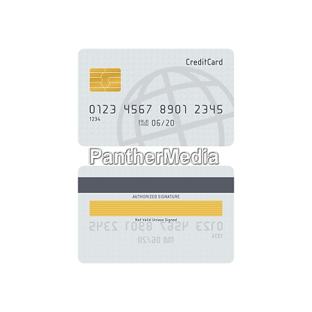 white credit card front and back