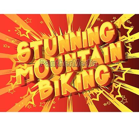 bedovelse mountain biking tegneserie stil saetning
