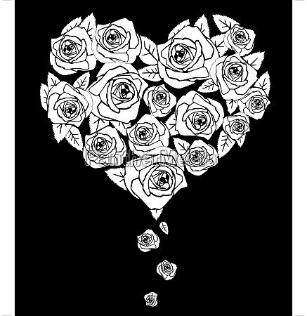 valentines heart on black vector