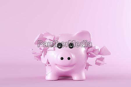 3d rendering piggy bank bursting into