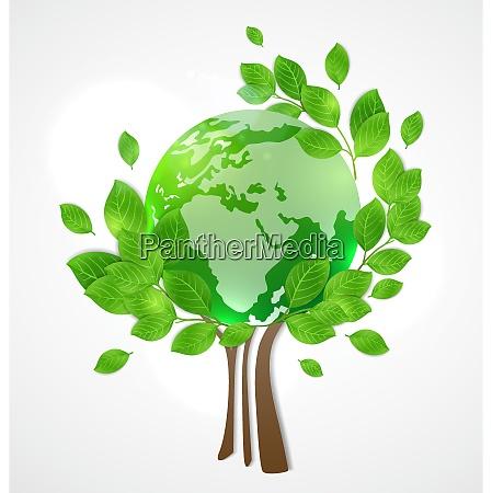 planeten jorden og det gronne trae