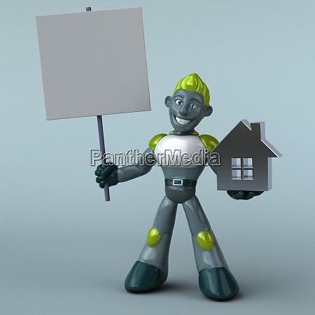 green robot 3d illustration