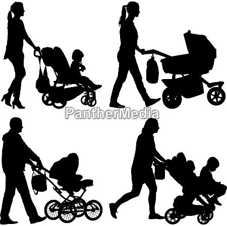 set black silhouettes family with pram