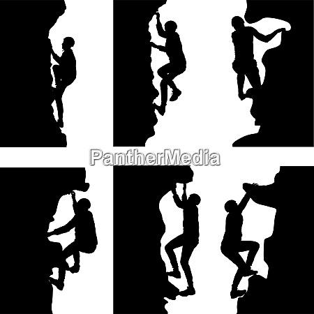 black set silhouette rock climber on