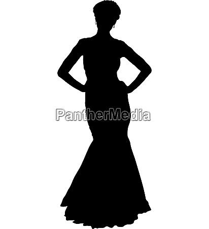 beautiful fashion girl silhouette on a