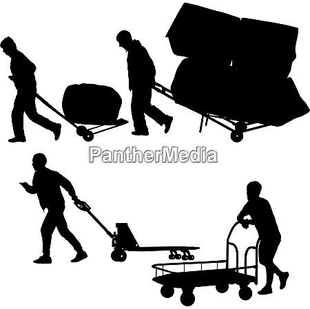 set black silhouette hard worker pushing