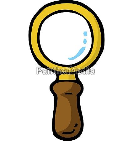 cartoon doodle magnifier on a white