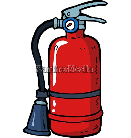 cartoon doodle fire extinguisher on a