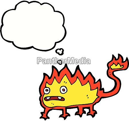 cartoon little fire demon with thought