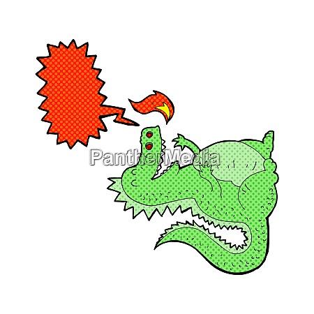 cartoon fire breathing dragon with speech
