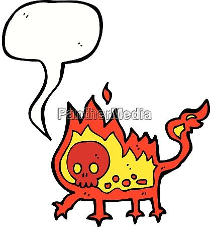 cartoon little fire demon with speech