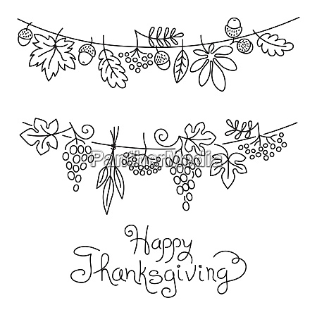 doodle thanksgiving decorative garland freehand vector