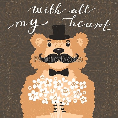 with all my heart hipster bear