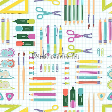vector seamless stationery pattern school and