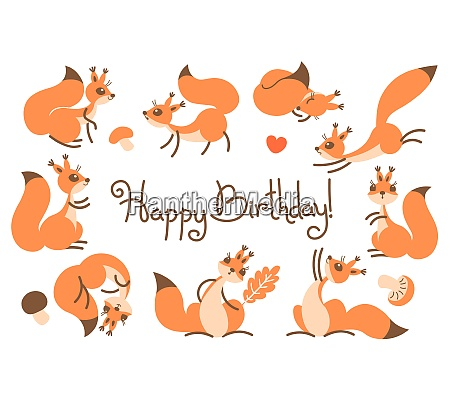 happy birthday card with cute squirrels