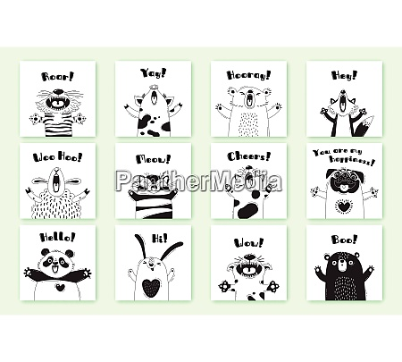 cards with funny animals and exclamations