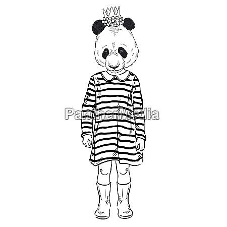 fashion animal illustration panda girl furry