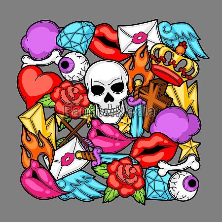 print with retro tattoo symbols cartoon