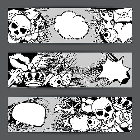 banners with retro tattoo symbols cartoon