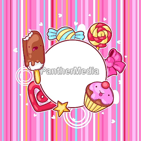 kawaii heart frame with sweets and