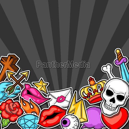 background with retro tattoo symbols cartoon