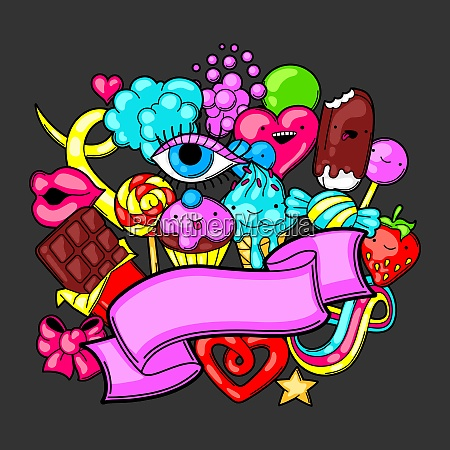 kawaii background with sweets and candies