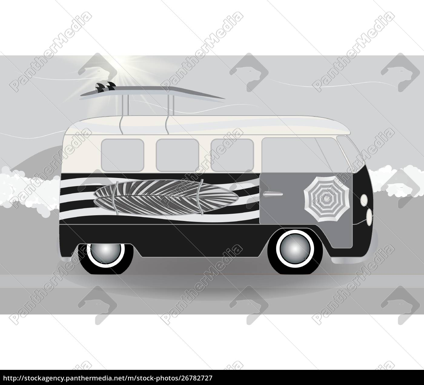 cartoon, van, med, surfbrætter, stående, i - 26782727