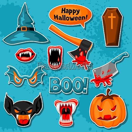 happy halloween set of cartoon holiday