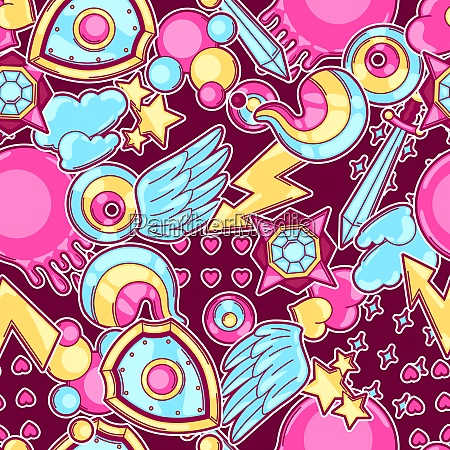 seamless pattern with cartoon fantasy objects