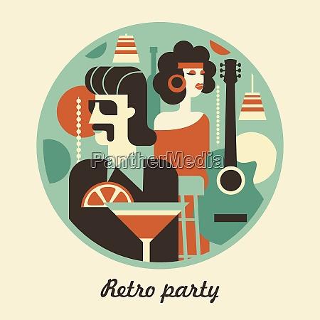 retro party men and women fashionably